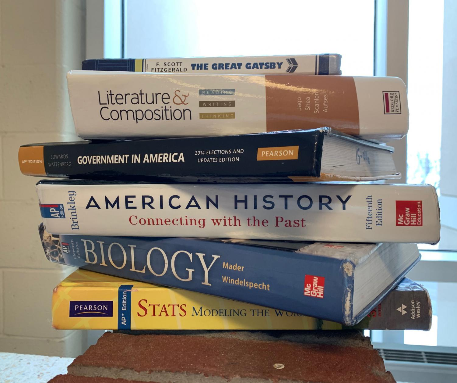 A stack of Bellefonte High's AP textbooks.