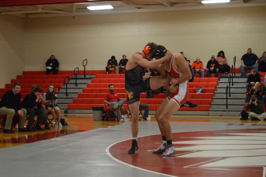 Junior Ethan Ross at a December match.
