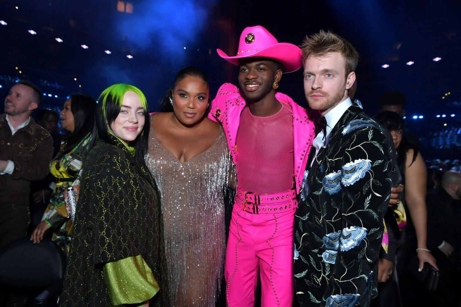 From left, Billie Ellish, Lizzo, Lil Nas X, Finneas at the 2020 Grammy's.