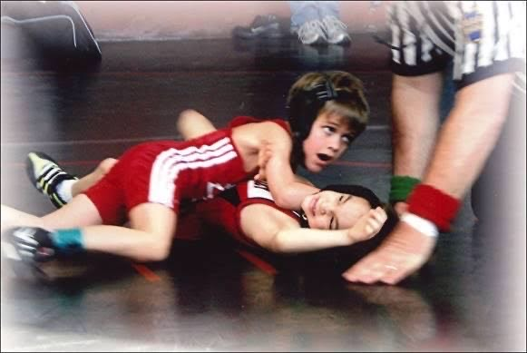 Senior Aaron Little wrestling during his youth years.
