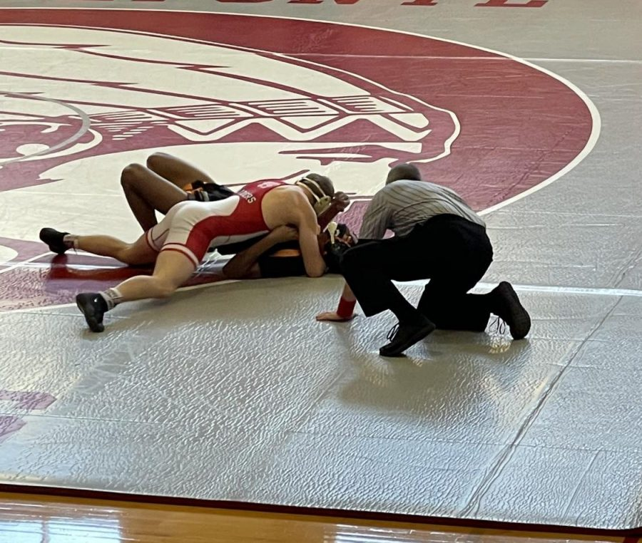 Ethan Richner wrestling Tyrone's Jermaine Myers  during the Tri-Meet on 1/16