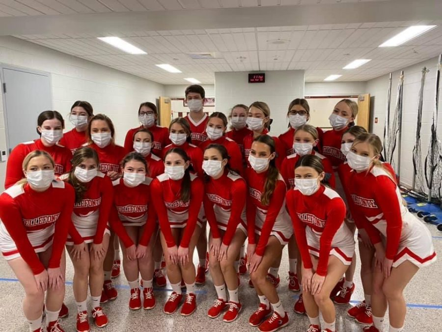 Bellefonte cheerleaders at the D6 competition in Altoona.