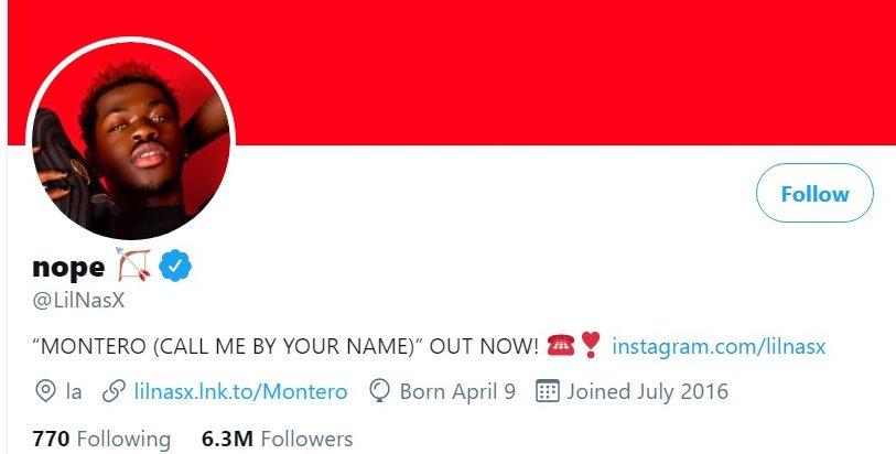 Musician Lil Nas X's public Twitter profile.