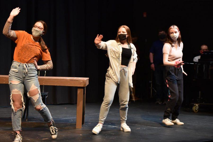 Sophomore Cecilia Mazzocco, junior Rebecca Methven, and senior Kate Leonori rehearse their scene in preparation for their final  recording.