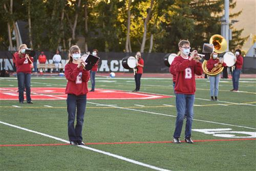Last year's marching band on the field.