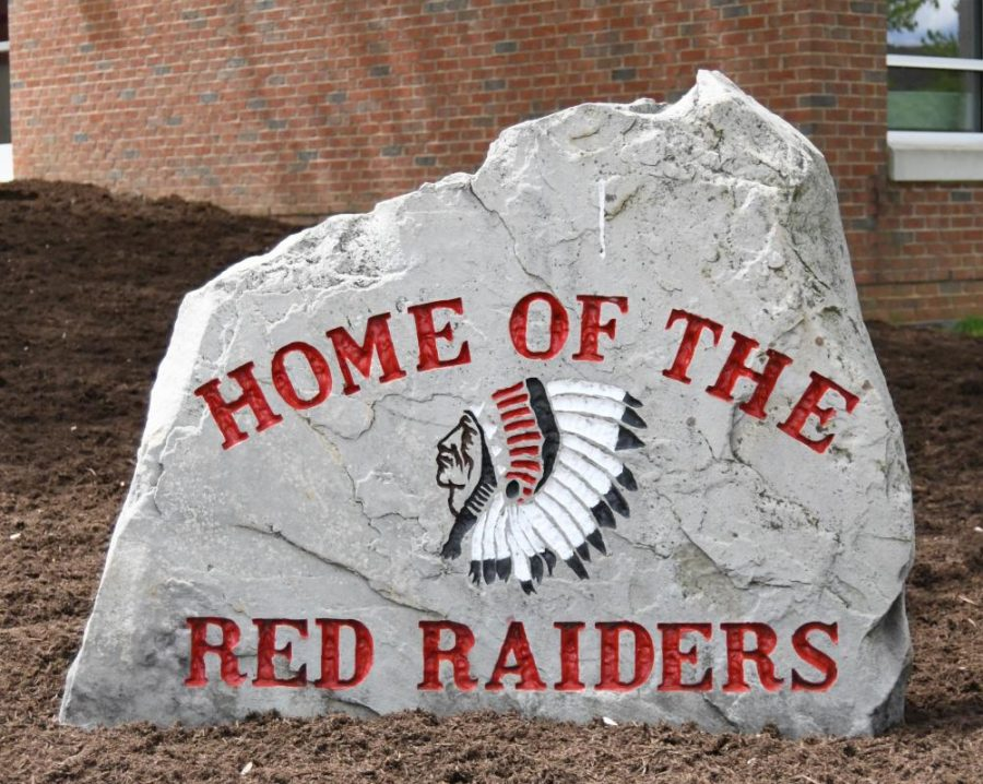 A+decorative+rock+with+the+Red+Raider+sits+outside+the+Bellefonte+High+School.