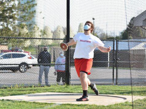 Javelin, shot put, and discus thrower, junior Willy Brininger.